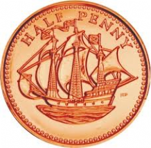 Milk Chocolate Copper Halfpenny Coin 10cm